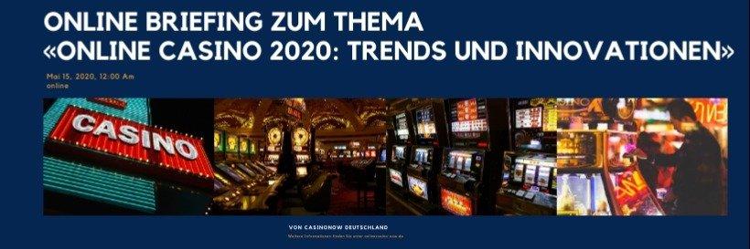 """Online Briefing zum Thema """"Online Casino 2020: Trends und In..."""
