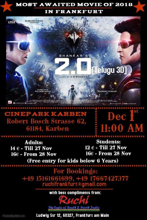 2.0 Telugu 3D in Frankfurt
